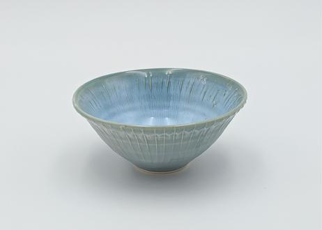 B28 色彩結晶釉 茶碗 青