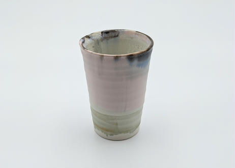 B87 色彩結晶釉フリーカップ ピンク×藍