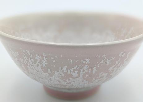 B124 雪結晶釉茶碗 ピンク