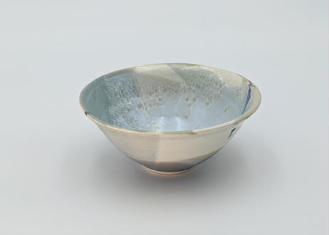 B34 色彩結晶釉 茶碗 ブルーグレーながし