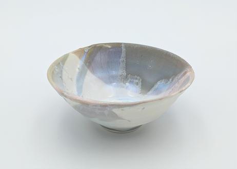 B116 色彩結晶釉茶碗 ピンク×グレー