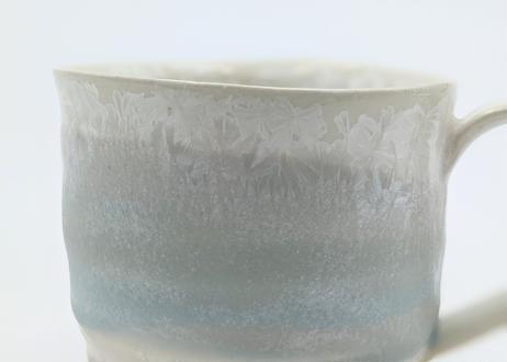 B100 雪結晶釉マグカップ 緑×ブルー