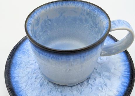 B121 雪結晶釉カップ&ソーサー