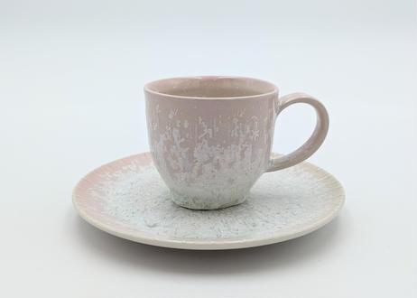 C5 雪結晶釉カップ&ソーサー ピンク