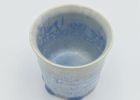 B50 雪結晶釉ゆのみ 青