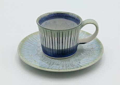 B60 色彩結晶釉カップ&ソーサー 緑×藍