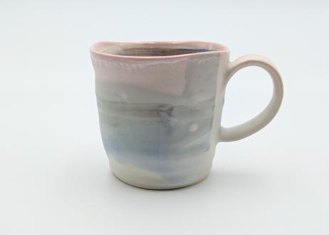 B89 色彩結晶釉マグカップ ピンク×グリーン