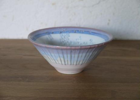 A109色彩結晶釉茶碗  桃×紫