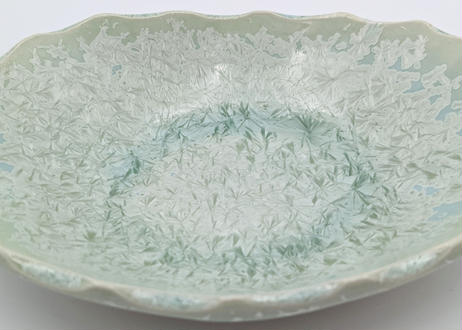 B107 雪結晶釉楕円鉢 緑 小