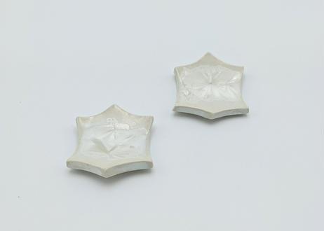 雪結晶釉 はしおき 白 2個セット