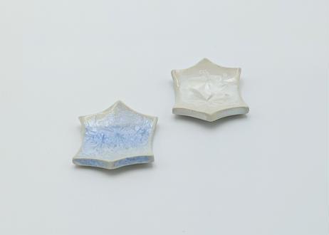 雪結晶釉 はしおき 白と青 2個セット
