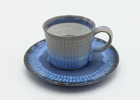 B59 色彩結晶釉カップ&ソーサー グレー×藍