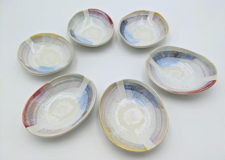 B73 色彩結晶釉だ円小鉢 黄