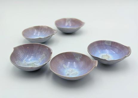 B78 色彩結晶釉変形小鉢 紫