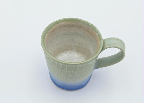 色彩結晶釉マグカップ 緑×青