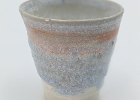 B25 雪結晶釉 ぐい呑 紫×オレンジ