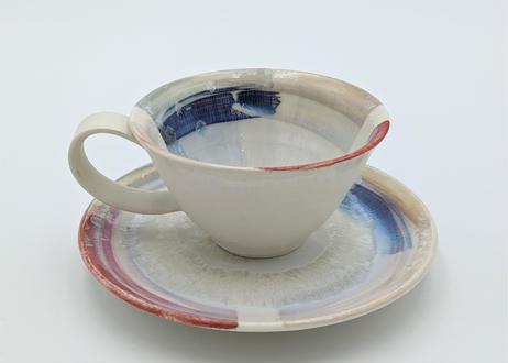色彩結晶釉カップ&ソーサー 赤