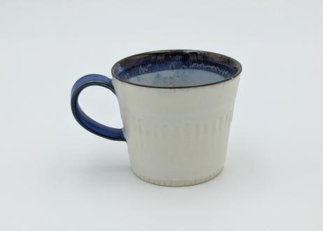 B13 色彩結晶釉 マグカップ 白×青