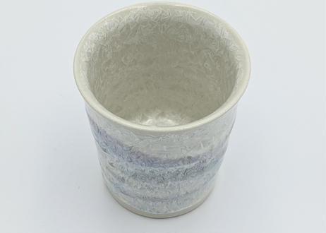B52 雪結晶釉ゆのみ 白×紫