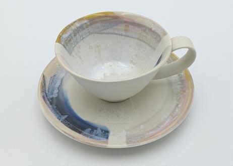 色彩結晶釉カップ&ソーサー 黄