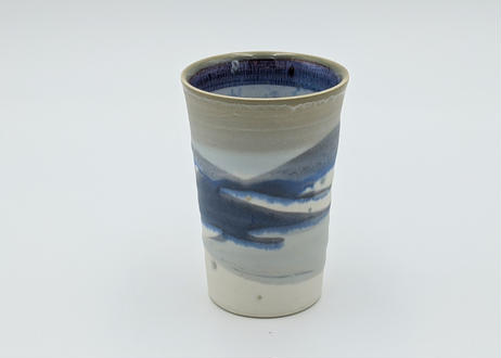 B8 色彩結晶釉 フリーカップ 茶グレー