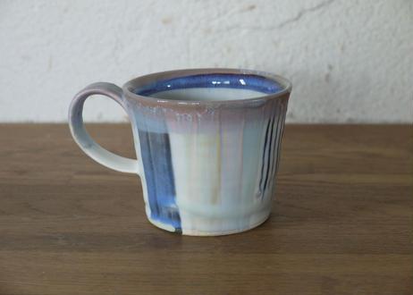 A52色彩結晶釉マグカップ紫ライン