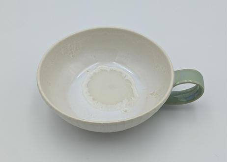 B36 色彩結晶釉スープカップ 白×手緑