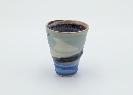 B126 色彩結晶釉 ぐいのみ  青に藍