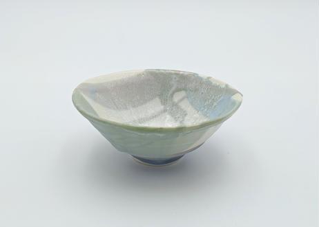 B129 色彩結晶釉茶碗 緑×紫