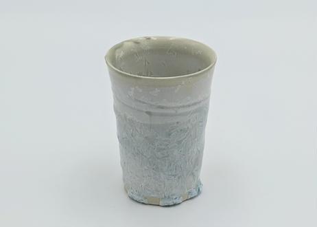B54 雪結晶釉フリーカップ 白×緑