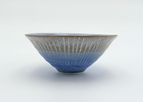 B130 色彩結晶釉茶碗 茶グレー×青