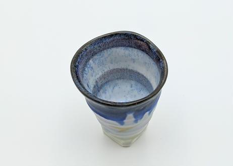 B125 色彩結晶釉 ぐいのみ グレー×藍