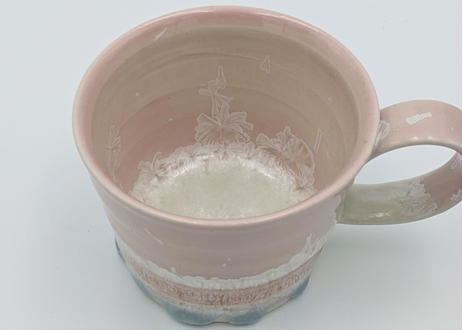 B15 雪結晶釉 マグカップ ピンク×オレンジ