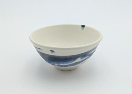 雪釉茶碗 藍色