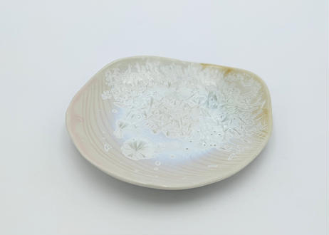 C3 雪結晶皿 ピンク×茶