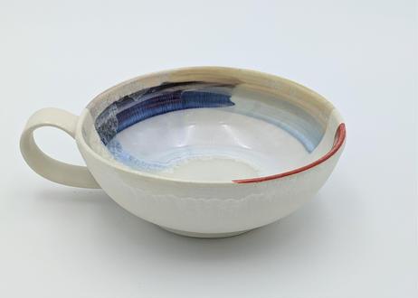 色彩結晶釉スープカップ 赤