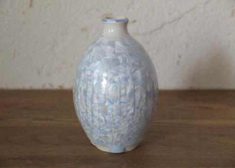 A6 雪結晶釉花器 青