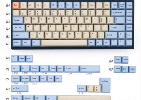 KBDfans OEM  DyeSub PBT キーキャップセット(クリーム/ライトブルー)