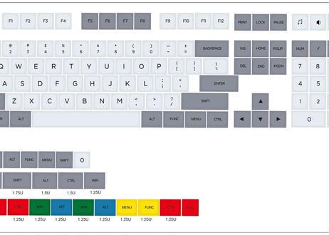 XDA DyeSub PBT 131 キーキャップセット(グレー/ライトグレー)