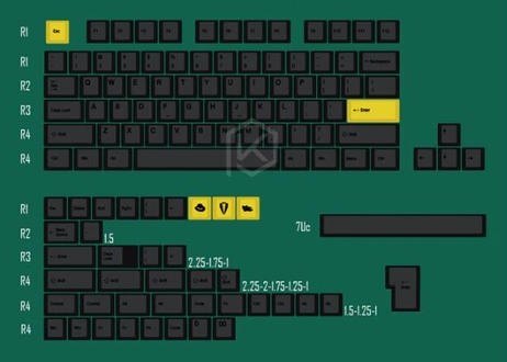 Cherry Profile DyeSub PBT キーキャップセット (60%用/ブラック/イエロー)