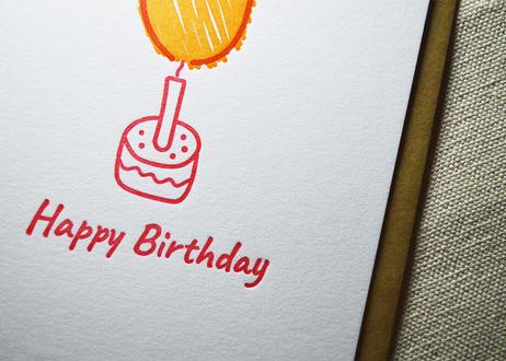 『Happy Birthday』カード  活版印刷