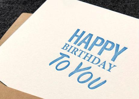 『HAPPY BIRTHDAY TO YOU』カード 2set  活版印刷