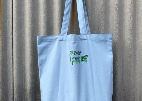 キャンバストートバッグ 水色・緑文字