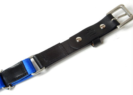 LEATHER NYLON BELT (Black×Blue)