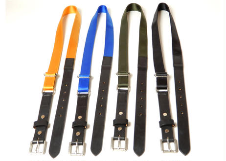 LEATHER NYLON BELT (Black×Orange)