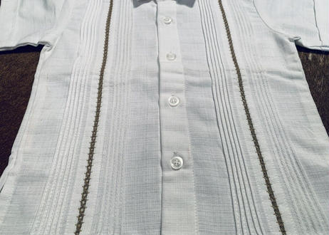 "[IMP-KID-S-WHT02-2] DEADSTOCK KID'S IMPORT GUAYABERA  S/S  ""WHITE-02""サイズ2"