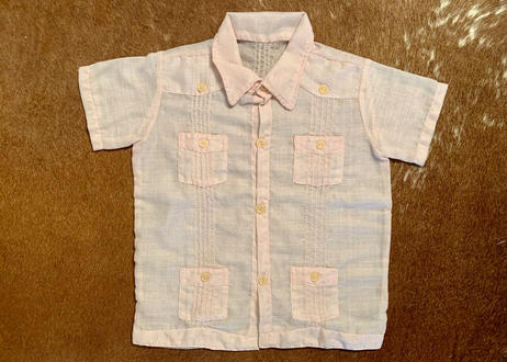 """[IMP-KID-S-PINK01] DEADSTOCK KID'S IMPORT CUBA SHIRTS  S/S  """"PINK-01"""""""