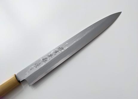 C919   白紙積層   柳刃8寸   漆しのぎ柄(ピンク)