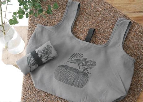 やわらかい布のエコバッグ マチ広めコンビニ用「食パンからミモザ」