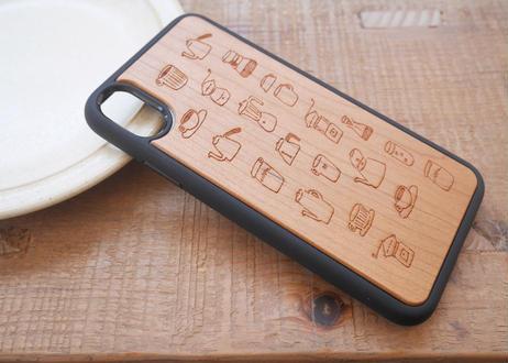 【iPhoneX/XS】ウッド衝撃吸収ケース『コーヒーのある生活』